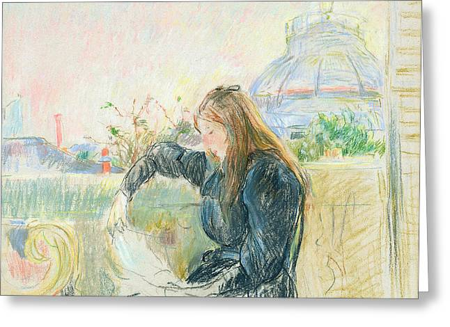 Morisot Prints Pastels Greeting Cards - On the Balcony Greeting Card by Berthe Morisot