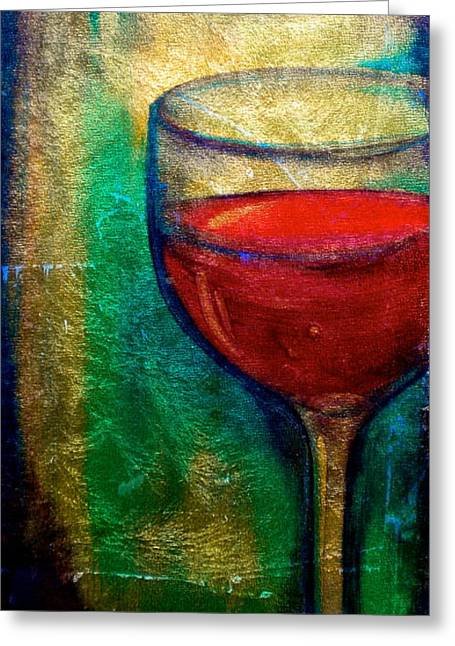 Red Wine Prints Greeting Cards - One More Glass Greeting Card by Debi Starr