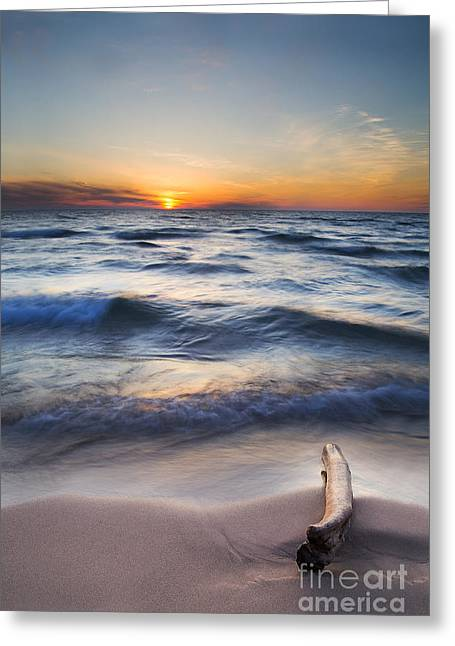 Sutton Greeting Cards - Onekama Sunset Greeting Card by Twenty Two North Photography