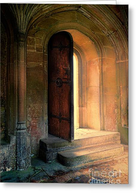 Medieval Entrance Greeting Cards - Open Door Greeting Card by Jill Battaglia