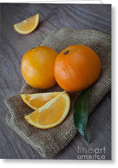 Tangerines Greeting Cards - Orange fruit Greeting Card by Sabino Parente