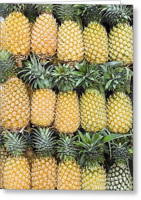 Green And Yellow Greeting Cards - Organic Pineapple  Greeting Card by Kevin Miller