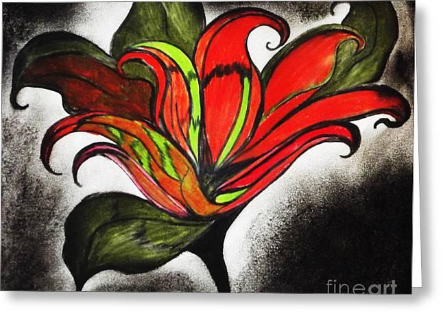 Glowing Pastels Greeting Cards - Original Full Bloom Greeting Card by Melinda Firestone-White
