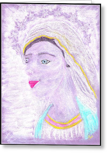 Virgin Mary Pastels Greeting Cards - Our Lady Mary Greeting Card by Lyn Blore Dufty