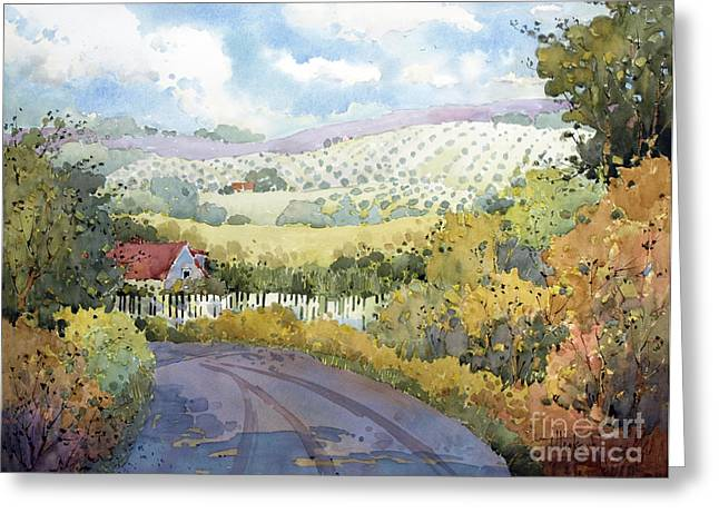 Cambria Greeting Cards - Out Santa Rosa Creek Road Greeting Card by Joyce Hicks