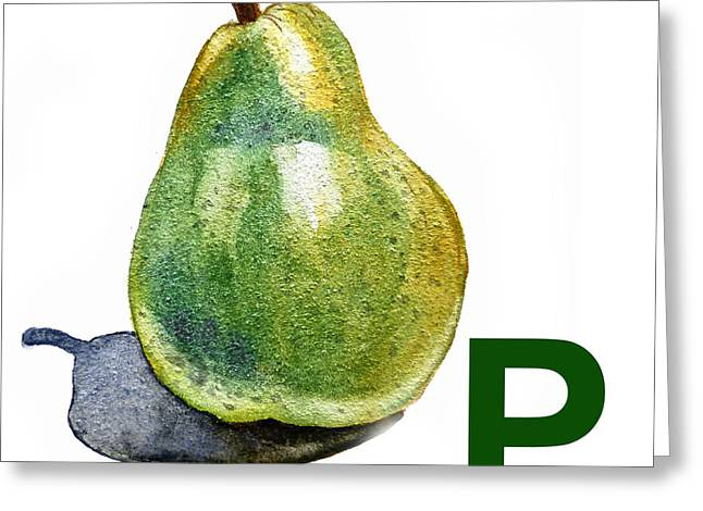 Pear Prints Greeting Cards - P Art Alphabet for Kids Room Greeting Card by Irina Sztukowski