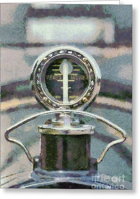 Car Mascot Paintings Greeting Cards - 1921 Packard 4D 116 convertible Greeting Card by George Atsametakis