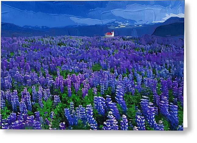Printables Greeting Cards - Painting Flowers Oil Greeting Card by Victor Gladkiy