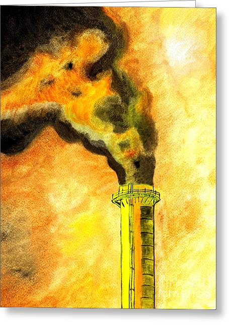 Carbon Monoxide Greeting Cards - Painting of dense polluted smoke and haze surrounding the therma Greeting Card by Dr Ajay Kumar  Singh