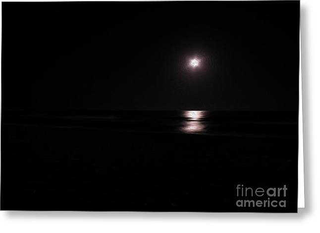 Sea Moon Full Moon Greeting Cards - Moon Light Oleo Greeting Card by Stefano Piccini