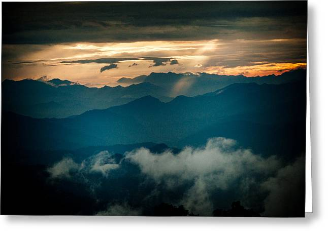 Panaramic Sunset Himalayas Mountain Nepal Greeting Card by Raimond Klavins