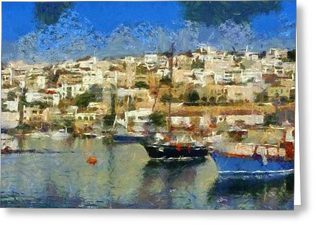 Greece Greeting Cards - Panoramic painting of Mikrolimano port Greeting Card by George Atsametakis