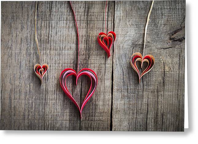 Engage Greeting Cards - Paper Heart Decoration Greeting Card by Aged Pixel