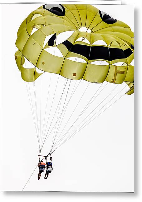 Para Sailing Greeting Cards - Parasailing With Smiley Face Greeting Card by Colin Utz