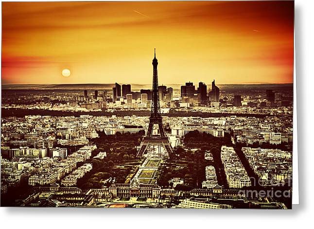 Champs Greeting Cards - Paris France at sunset Greeting Card by Michal Bednarek