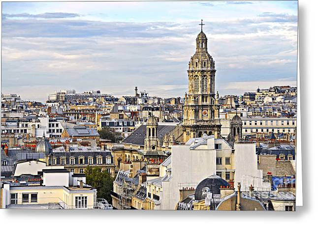 Historical Buildings Greeting Cards - Paris rooftops Greeting Card by Elena Elisseeva