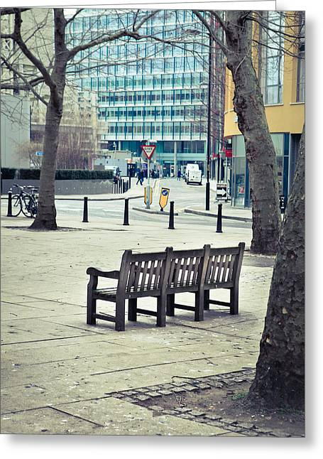 Empty Bench Greeting Cards - Park bench Greeting Card by Tom Gowanlock