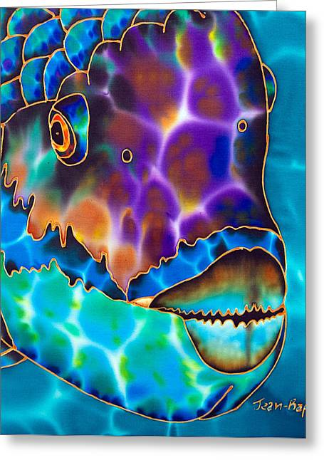 Diamond Tapestries - Textiles Greeting Cards - Parrotfish Greeting Card by Daniel Jean-Baptiste