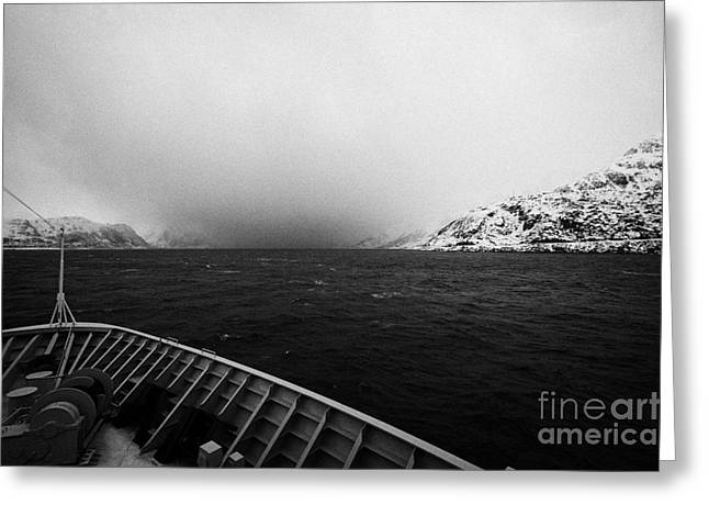 Norwegian Sea Greeting Cards - Passenger Ship Sailing Along The Coast Of The Norwegian Sea During Winter Norway Europe Greeting Card by Joe Fox