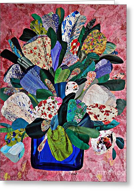 Bouquet Mixed Media Greeting Cards - Patchwork Bouquet Greeting Card by Sarah Loft