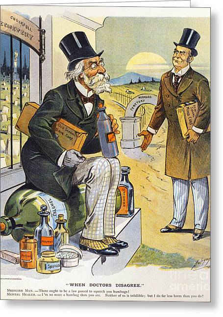 Dalrymple Greeting Cards - Patent Medicine Cartoon Greeting Card by Granger