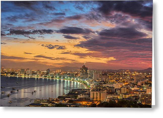 Pattaya City  Greeting Card by Anek Suwannaphoom