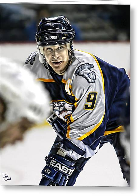 Reebok Greeting Cards - Paul Kariya Greeting Card by Don Olea
