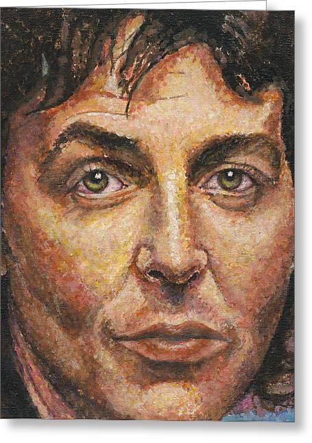 Stipple Paintings Greeting Cards - Paul McCartney Greeting Card by Melinda Saminski