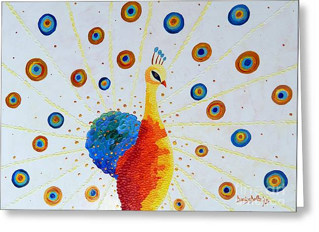 Stretched Cotton Canvas Greeting Cards - Peacock Greeting Card by Denisa Laura Doltu