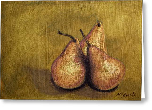 Olive Green Pastels Greeting Cards - 3 Pear Study Greeting Card by Marna Edwards Flavell