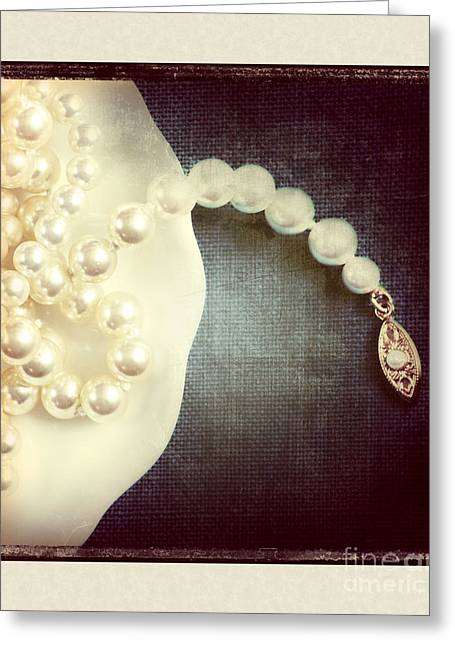 Gold Necklace. Greeting Cards - Pearls Greeting Card by HD Connelly