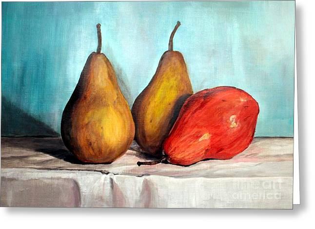 Bosh Greeting Cards - 3 Pears Greeting Card by Ariel Davila