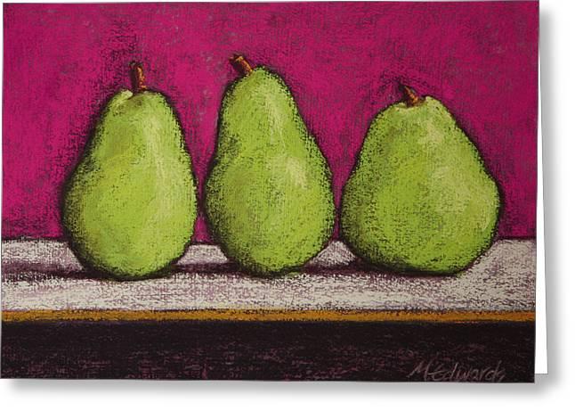 Fushia Pastels Greeting Cards - 3 Pears Magenta Greeting Card by Marna Edwards Flavell