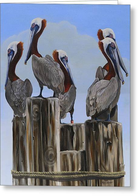 Phyllis Beiser Greeting Cards - Pelicans Five Greeting Card by Phyllis Beiser