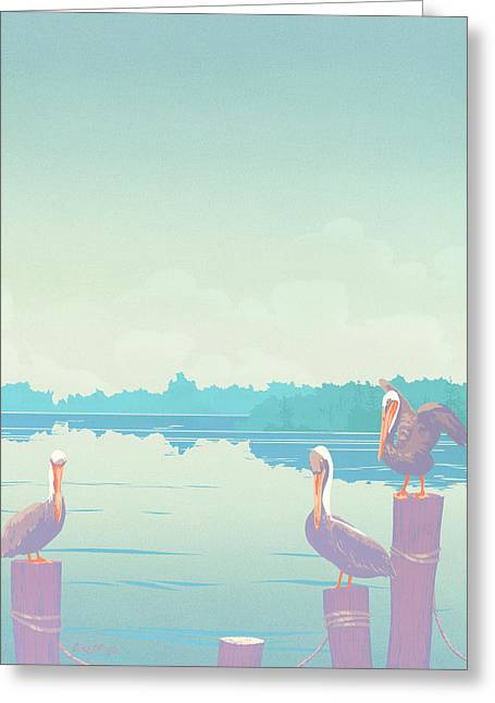 Abstract Pelicans Tropical Florida Seascape Large Pop Art Nouveau 80s 1980s Stylized Painting Greeting Card by Walt Curlee