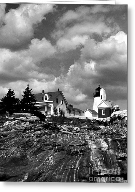Maine Lighthouses Greeting Cards - Pemaquid Point Lighthouse Greeting Card by Skip Willits