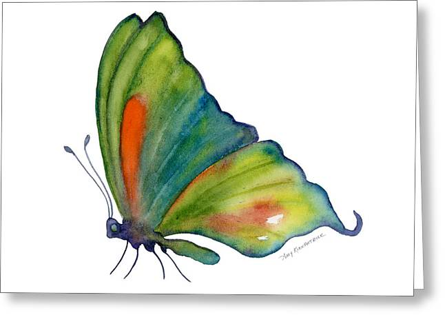 Perching Greeting Cards - 3 Perched Orange Spot Butterfly Greeting Card by Amy Kirkpatrick