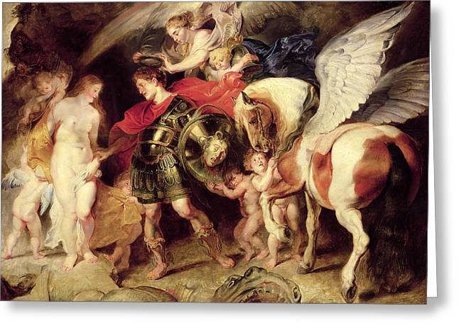 Andromeda Greeting Cards - Perseus liberating Andromeda Greeting Card by Peter Paul Rubens