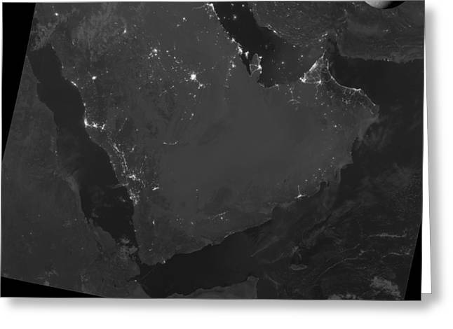 Moonlit Night Greeting Cards - Persian Gulf at night, satellite image Greeting Card by Science Photo Library