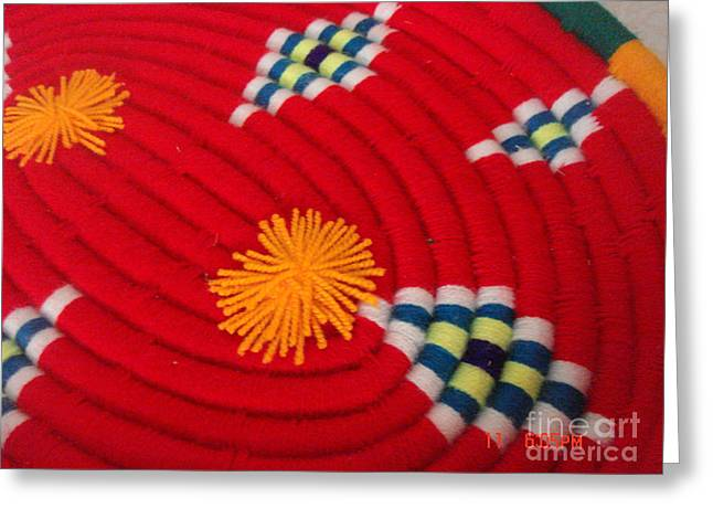 Artist Tapestries - Textiles Greeting Cards - Persian Trays Handmade made of Mat/ Woolen Color Red This style belongs to the North of Iran Greeting Card by Persian Art