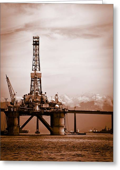 Sea Platform Greeting Cards - Petroleum platform on the Guanabara bay Greeting Card by Celso Diniz