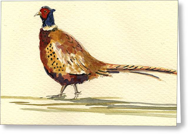 Hunting Greeting Cards - Pheasant Greeting Card by Juan  Bosco