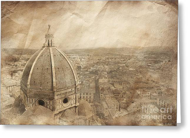 Italian Culture.italian Renaissance Greeting Cards - Piazza Del Duomo With Basilica Of Saint Greeting Card by Evgeny Kuklev