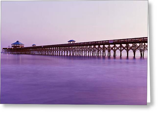 Beach Photography Greeting Cards - Pier In The Ocean, Folly Beach Fishing Greeting Card by Panoramic Images