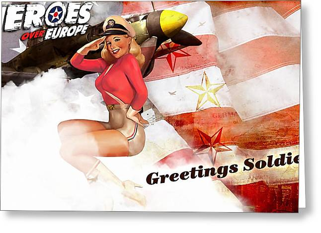 Wall Greeting Cards - Pin Up Girl Greeting Card by Marvin Blaine