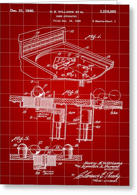 Pinball Machine Patent 1939 - Red Greeting Card by Stephen Younts