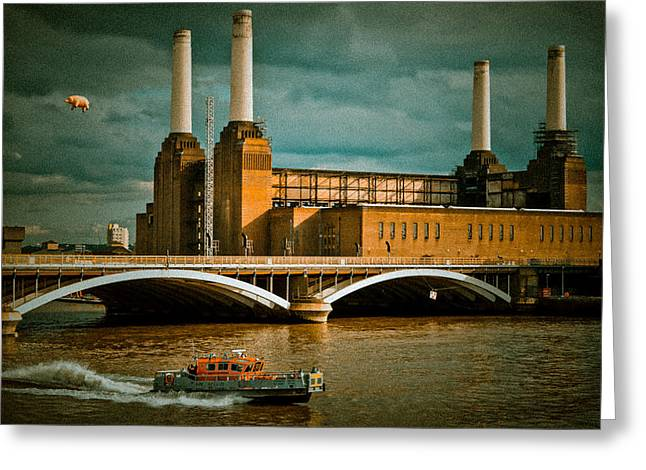 Black Pig Greeting Cards - Pink Floyd Pig at Battersea Greeting Card by Dawn OConnor