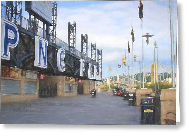Pnc Park Digital Art Greeting Cards - PNC Park Riverwalk Pastel Look Greeting Card by Stephen Falavolito