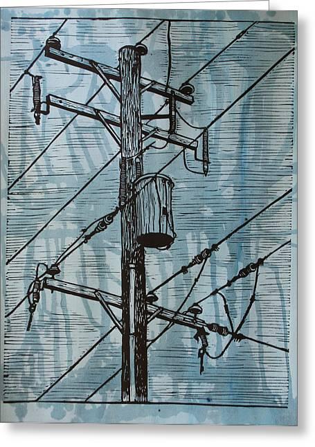 Lino Greeting Cards - Pole with Transformer Greeting Card by William Cauthern