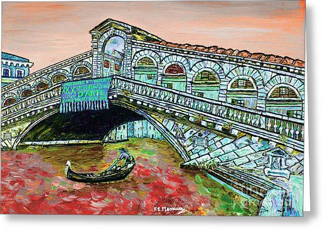 Famous Bridge Mixed Media Greeting Cards - Across the Grand Canal Greeting Card by Loredana Messina